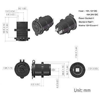 Zigarettenanznder-Enisina-Wasserdicht-Marine-Grade-12V-24V-Gleichstrom-Feuerzeugsteckdose-Steckdose-fr-Boot-Motorrad-Auto-mit-06m-Anschlusskabel