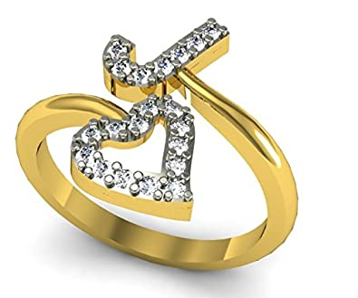 Perfect Jewelscart J Letter Heart Shape Valentine CZ Gold Plated RING