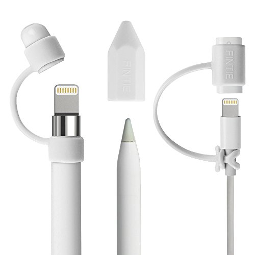 [3-Piece] Fintie for Apple Pencil Cap Holder / Nib Cover / Lightning Cable Adapter Tether for Apple iPad Pro Pencil, White