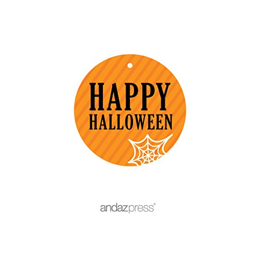 Andaz Press Classic Black and Orange Halloween Party Collection, Happy Halloween Round Circle Gift Tags, 24-Pack]()