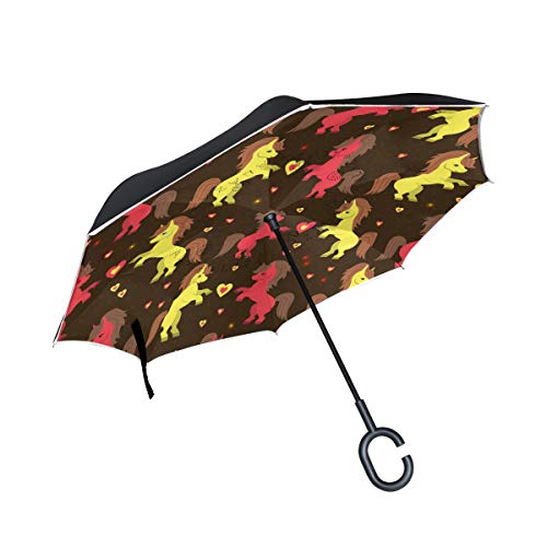 Inverted Umbrella Cute Red And Yellow Unicorn Double Layer Reverse Umbrella for Car Windproof UV Protection Big Straight with C-Shaped Handle