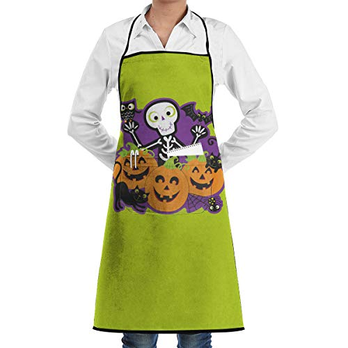SWT Home Halloween Party Adjustable Kitchen Apron With Pocket For Men & Women, Professional Chef Bib Apron For Cooking, Baking, Crafting, Gardening And BBQ