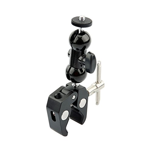 NICEYRIG Ballhead Arm Multi-functional Double Ball Adapter with Bottom Clamp for Attaching LED Video Light,Camera,Camcorder,Monitor and more Double Super Clamp