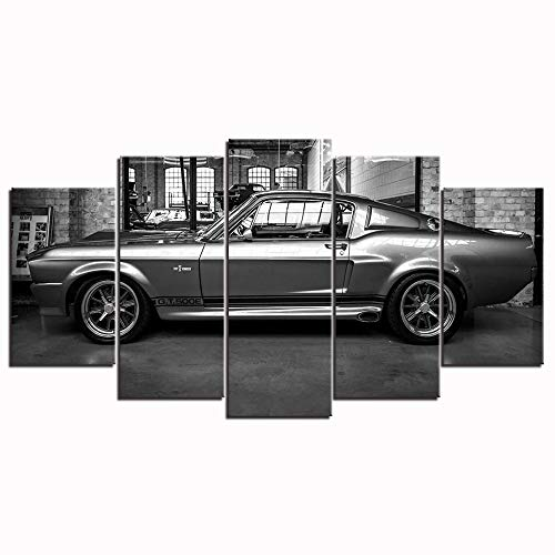 (Ford Mustang Gt500 Eleanor Canvas Painting 5 Panel Wall Art Picture Home Decor Canvas Picture Poster Artwork)