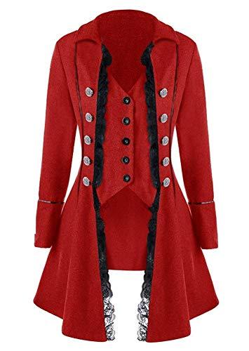 Women's Gothic Steampunk Costume Halloween Costume Vintage Coat Victorian Tailcoat Jacket Red