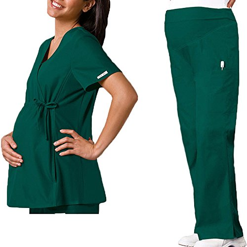 Cherokee Flexibles Women's Maternity Mock Wrap With Stretch Side Panels Top And Flare Leg Pant Solid Scrub Set Medium (Flexibles Maternity Wrap Top)