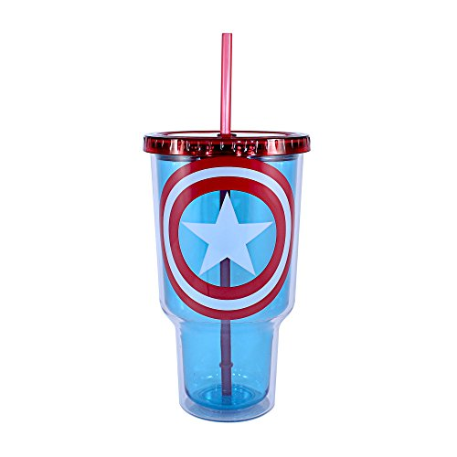 Price comparison product image Silver Buffalo MV4717 Marvel Captain America Shield Jumbo Cold Cup with Lid and Straw, 32-Ounces