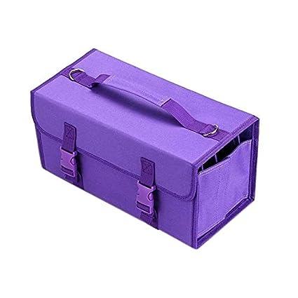 Zhoutao 2 unidades Mark Touch bolígrafo bolsa portaobjetos, estuche para pintura, tamaño: estuche para 60 colores (azul), color violeta: Amazon.es: Oficina y papelería