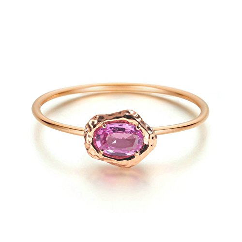 Beydodo Rings for Women 18k Real Gold 4-prong 0.532ct Oval Cut Pink Sapphire Ring Rose Gold Ring Size 9 by Beydodo