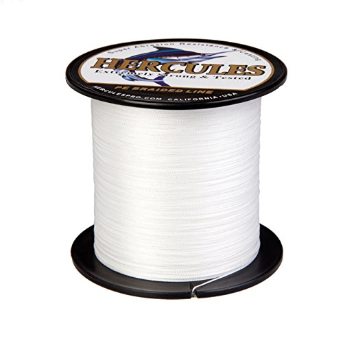 HERCULES Super Strong 300M 328 Yards Braided Fishing Line 8 LB Test for Saltwater Freshwater PE Braid Fish Lines 4 Strands - White, 8LB (3.6KG), 0.10MM