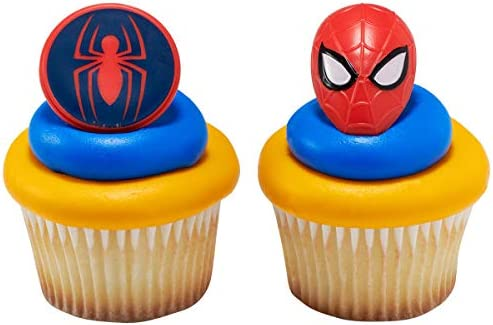24 ct Spiderman Mask and Spider Cupcake Rings