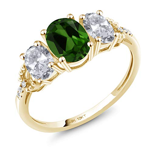 Gem Stone King 10K Yellow Gold Engagement Ring 3.02 Ct Oval Green Chrome Diopside White Topaz (Size 7)