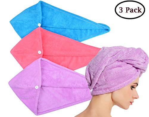 HOPESHINE Microfiber Hair Drying Towel Turban Twist for Long Hair Wrap Towels Fast Drying Absorbent Cap Great Gift for Women and Girls (Blue+Purple+Rose Red 3-Pack) (Best Hair Towel Wrap)
