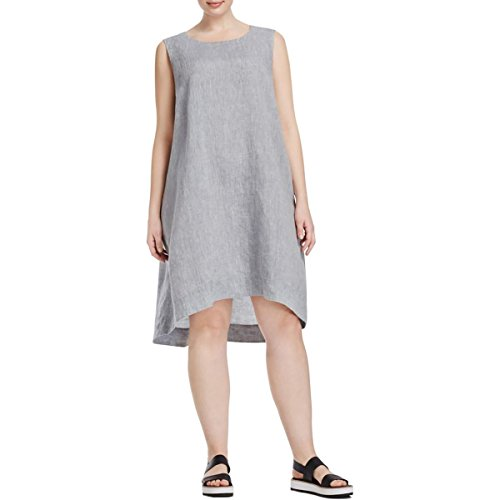 Eileen Fisher Womens Plus Yarn-Dyed Hi-Low Casual Dress Blue 1X