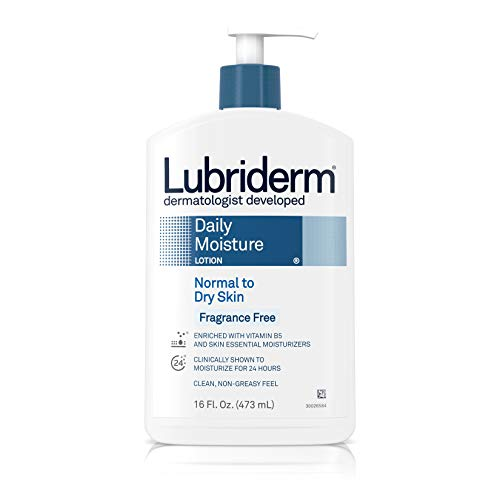 Lubriderm Daily Moisture Body Lotion, Fragrance-Free, Normal To Dry Skin Lotion, 16 fl. Oz