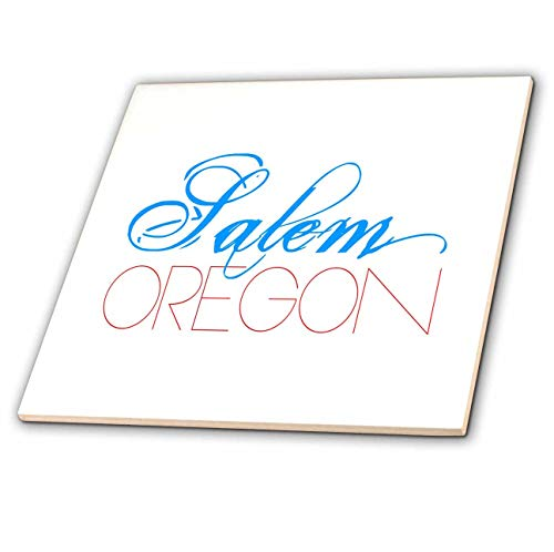 3dRose Alexis Design - American Cities - Exquisite Elegant Text Salem Oregon of Blue, red Colors - 4 Inch Ceramic Tile - Salem Tile