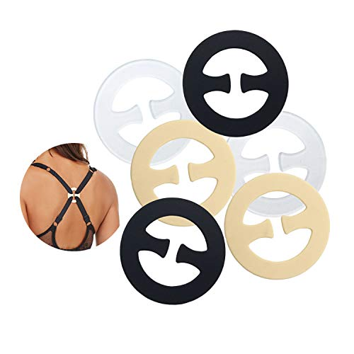 (Bra Strap Clips Conceal Straps for Cleavage Control - 6 Piece (Round-Shape, UN))