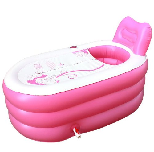 Back to 20s Fashion Adult SPA Inflatable Bath Tub with Electric Air Pump (Pink, Small)