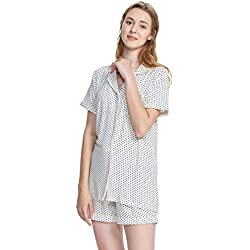 SIORO Pajamas Shorts Pajama Set Women's Sleepwear Plus Size Ladies Soft Cotton Loungewear 2 Piece Summer Lightweight Nightgown Short White XL