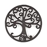 gasaré, Cast Iron Trivet for Hot Dishes, Tree of Life Design, Legs with Rubber Caps, 8 Inches, Rust Brown Color