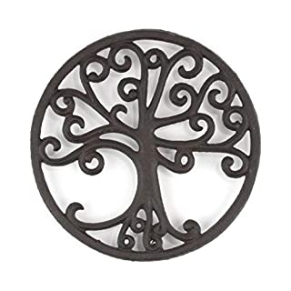 gasaré, Cast Iron Trivet, Metal Trivet, Tree of Life Decor, for Hot Dishes, Pots, Kitchen, Countertop, Dining Table, with Rubber Feet Caps, Solid Cast Iron, 8 Inch Large, Rustic Brown Finish
