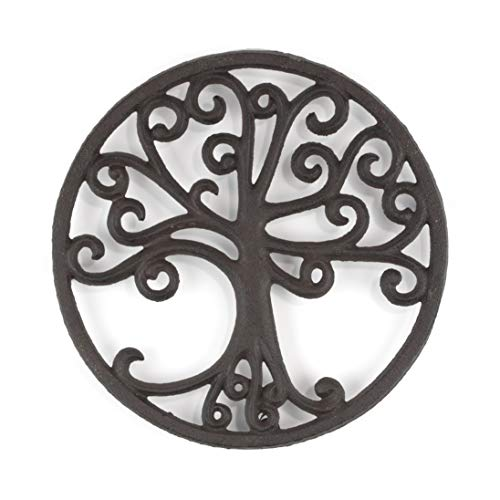 - gasaré, Cast Iron Trivet for Hot Dishes, Tree of Life Design, Legs with Rubber Caps, 8 Inches, Rust Brown Color
