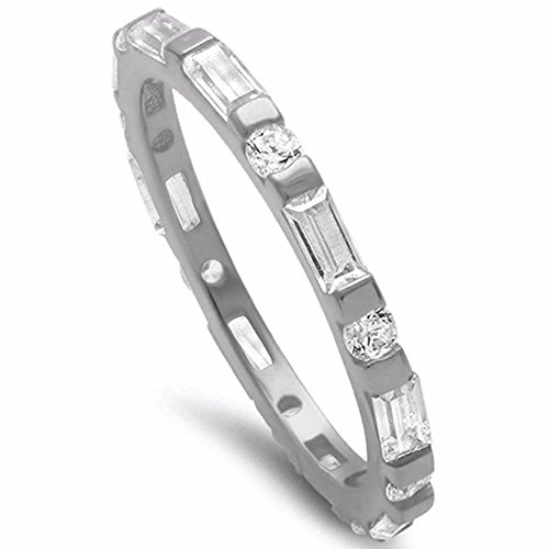 Sterling Silver Baguette Ring - 2mm Full Eternity Band Round and Baguette Cubic Zirconia 925 Sterling Silver Ring