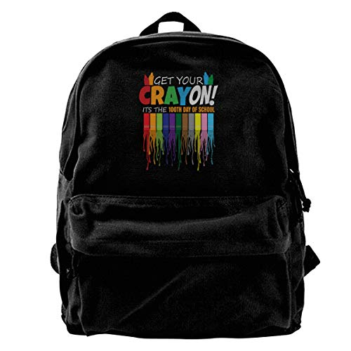 Blcak Backpack Casual Book Bag Get Your Cray On It's The 100th Day Of School]()