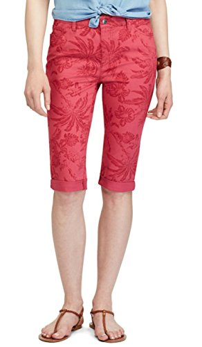 Chaps Women's Cuffed Twill Capris (Red Mulbery, - Twill Capri Cuffed