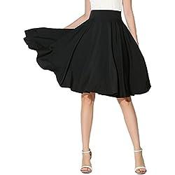 Choies Womens High Waist Midi Skater Skirt L,Black