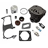 HURI Cylinder with Piston Kits Gasket Oil Seal Spark Plug for Husqvarna 346XP 350 351 353 Chainsaw 44mm
