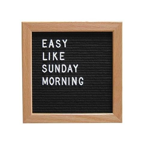 Letter Board- black felt letter board 10x10 with oak frame- changeable letter board -with 290 letters included - sign board Lomna