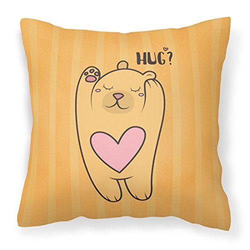 Treasure Bear Hugs (Caroline's Treasures BB7470PW1414 Nursery Hug Bear Fabric Decorative Pillow , 14Hx14W, multicolor)