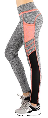 Workout Leggings Running Tights Yoga Pants M(Grey/Orange) ()