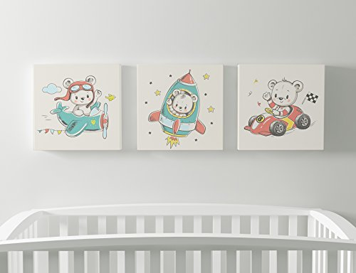 Emin Decor Cute Little Teddy Bear and His Friends Nursery Children Room Giclee Canvas Wall Art (11