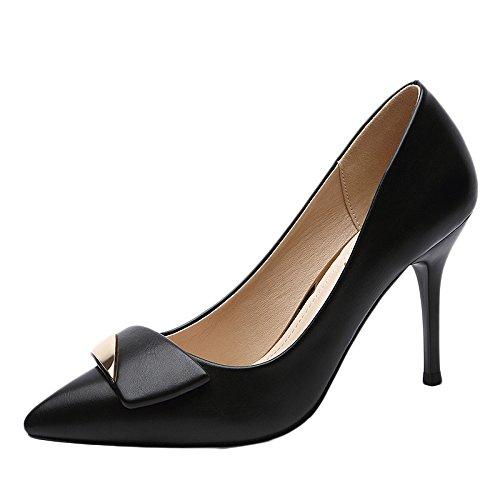 Cuero Corte De Boda Mujer Fiesta Negro Discoteca Tacones De Zapatos Trabajo Sexy Moda De La Profesi Altos Zapatos snfgoij vqTx48wq