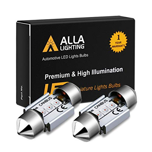 Alla Lighting DE3022 DE3175 LED Bulb Xtremely Super Bright 31mm CAN-BUS Festoon DE3021 3175 6428 3030 SMD Cars Trucks LED Interior Dome Map Trunk Step Courtesy Lights, Pure Red (Red Lights Dome Led)