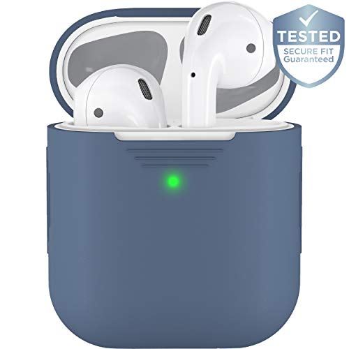 PodSkinz AirPods 2 Case [Front LED Visible] Protective Silicone Cover and Skin Compatible with Apple AirPod Case 2 & 1 (Cobalt Blue)