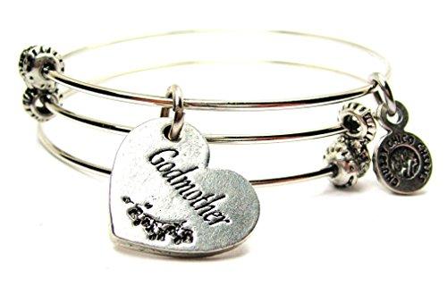 Triple Strand Heart Bracelet - Godmother Heart Expandable Triple Wire Adjustable Bracelet Made in the USA