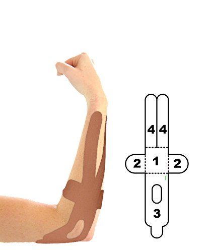 5 Pack - Kindmax Kinesiology Tape Elbow Support (Beige) - K Tape for Elbow Injuries by Kindmax