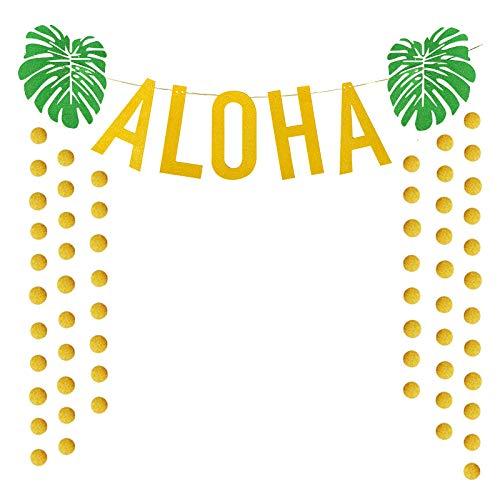 ハワイアン アロハ パーティー デコレーション ラージ ゴールド キラキラ アロハ バナー サマー トロピカル ルアウ パーティー サプライ 記念品   B07R7K7DDQ