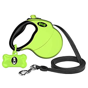 Ruff 'n Ruffus Retractable Dog Leash with Free Waste Bag Dispenser and Bags + Bonus Bowl | Heavy-Duty 16ft Retracting Pet Leash | 1-Button Control | Durable