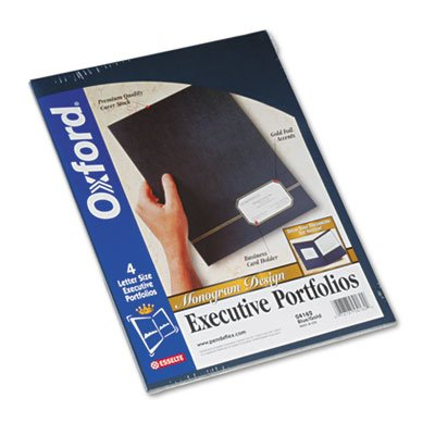 Oxford : Monogram Series Business Portfolio, Cover Stock, Blue/Gold, Four per Pack -:- Sold as 2 Packs of - 4 - / - Total of 8 Each