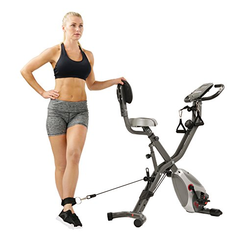 Sunny Health & Fitness Foldable Semi Recumbent Magnetic Upright Exercise Bike w/Pulse Rate Monitoring, Adjustable Arm Resistance Bands and LCD Monitor - SF-B2710 by Sunny Health & Fitness (Image #14)