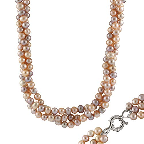 Handpicked AA Quality 6-7mm Natural Pink Purple Cream Freshwater Cultured Pearl 3-Row Twisted Necklace 925 Sterling Silver