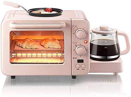 فرن صغير مع شواية ولوحات ساخنة فرن كهربائي مع لوحة حرارة مزدوجة صينية خبز كهربائية ماكينة إفطار 3 في 1 متعددة الوظائف فرن صغير كهربائي 8 لتر مع ماكينة تحضير القهوة وردي Amazon Ae