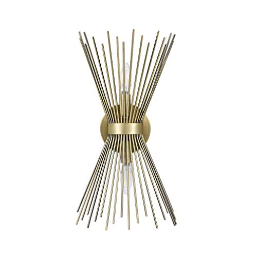 Two Antique Gold Light (Rivet Mid-Century Modern Antique Gold 2-Light Starburst Wall Sconce, 17.5