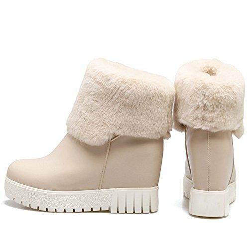 Pull Hidden Heel Women KemeKiss Boots Beige On 1nEF6q