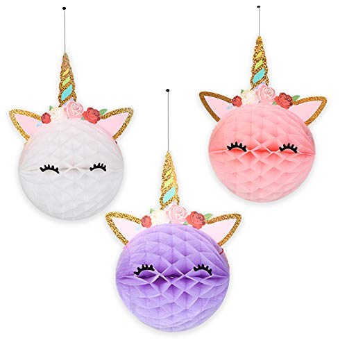 6pcs Unicorn Honeycomb Balls Decorations Party Supplies - Unicorn Party Decor For Birthday Party,Wedding,Baby Shower- 3 Color Unicorn Party Decorations