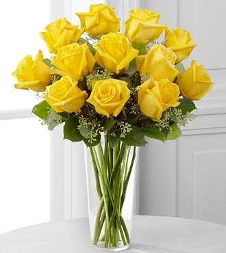 FTD Flowers Yellow Rose Bouquet With Vase -12 Stems - Delivered by a Local Florist